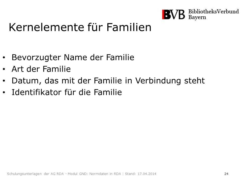 24Schulungsunterlagen der AG RDA - Modul GND: Normdaten in RDA | Stand: 17.04.2014 Kernelemente für Familien Bevorzugter Name der Familie Art der Familie Datum, das mit der Familie in Verbindung steht Identifikator für die Familie