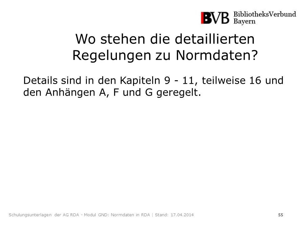 55Schulungsunterlagen der AG RDA - Modul GND: Normdaten in RDA | Stand: 17.04.2014 Wo stehen die detaillierten Regelungen zu Normdaten.