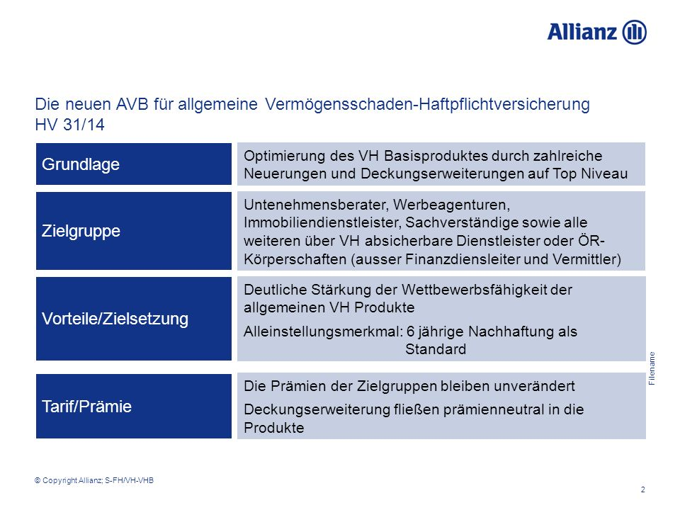Filename 2 © Copyright Allianz; S-FH/VH-VHB Optimierung des VH Basisproduktes durch zahlreiche Neuerungen und Deckungserweiterungen auf Top Niveau Die