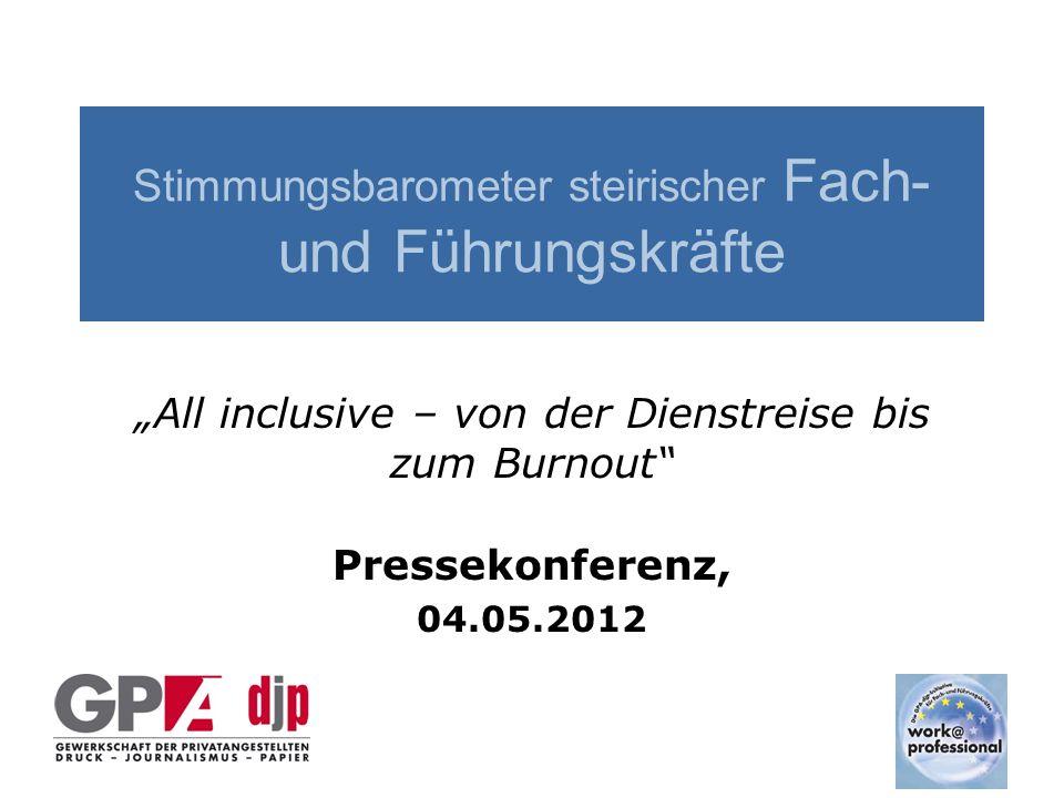 """Stimmungsbarometer steirischer Fach- und Führungskräfte """"All inclusive – von der Dienstreise bis zum Burnout Pressekonferenz, 04.05.2012"""