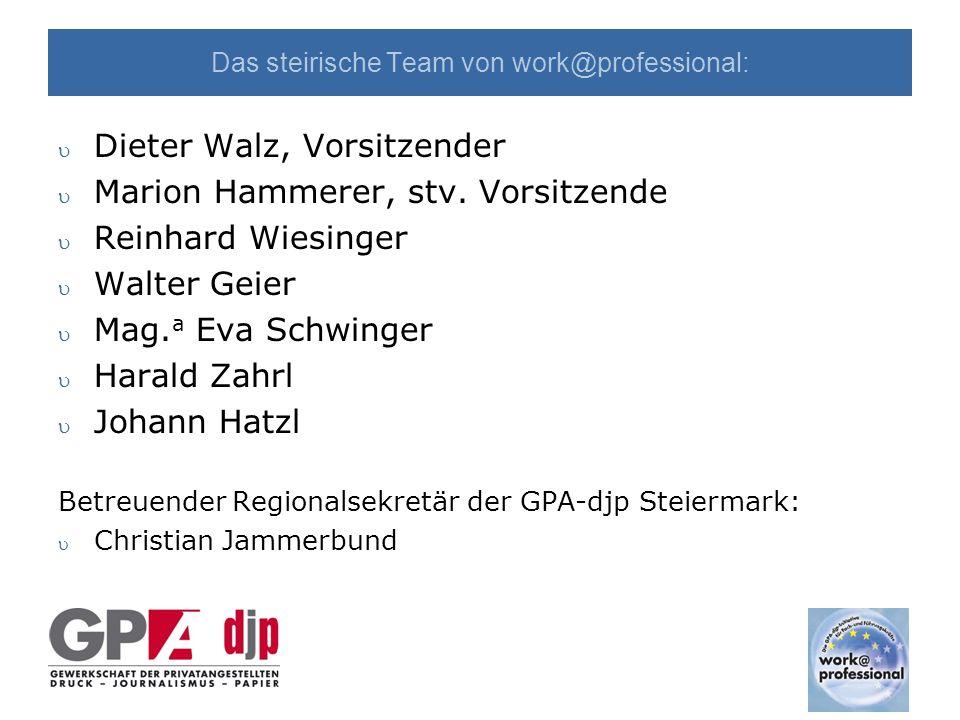 Das steirische Team von work@professional: u Dieter Walz, Vorsitzender u Marion Hammerer, stv.