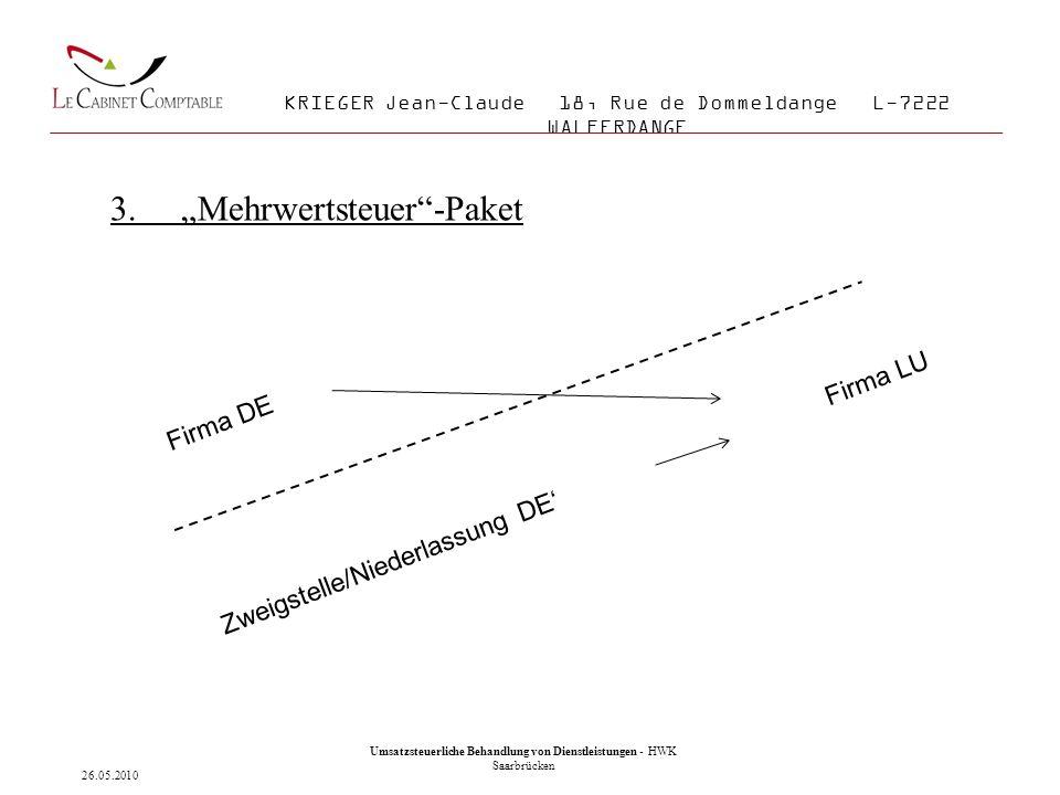 16 Umsatzsteuerliche Behandlung von Lieferungen und Dienstleistungen - IHK Saarland KRIEGER Jean-Claude 18, Rue de Dommeldange L-7222 WALFERDANGE 3.