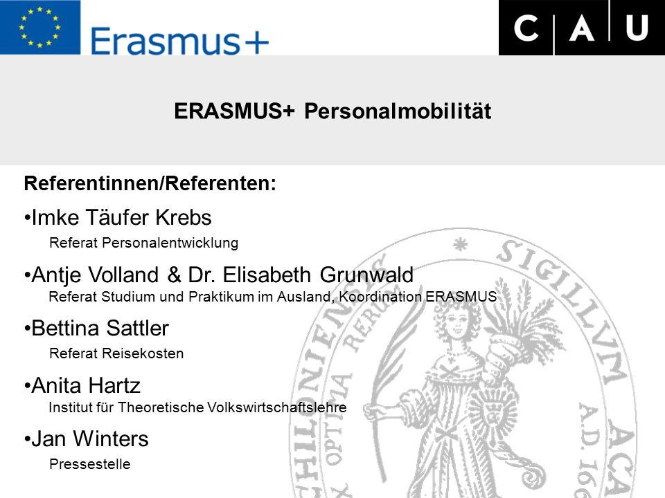 ERASMUS+ Workshop zu Personalmobiltät am 07.09.2015 Referentinnen/Referenten: Imke Täufer Krebs Referat Personalentwicklung Antje Volland & Dr.