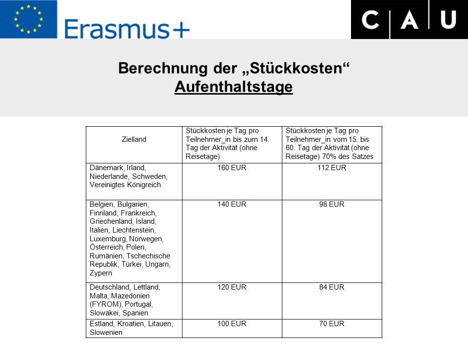 """Berechnung der """"Stückkosten Aufenthaltstage Zielland Stückkosten je Tag pro Teilnehmer_in bis zum 14."""