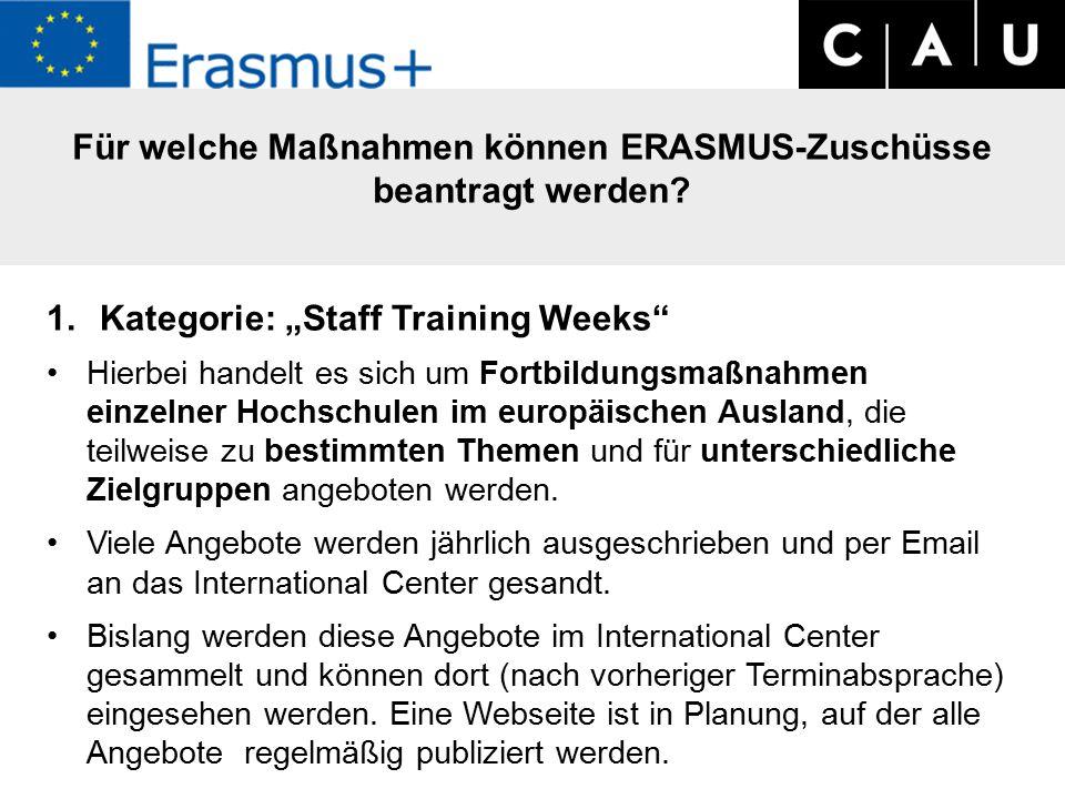 Für welche Maßnahmen können ERASMUS-Zuschüsse beantragt werden.