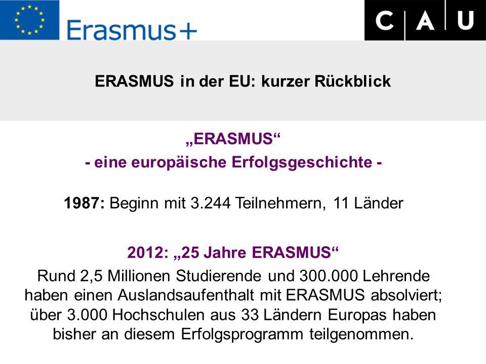 """""""ERASMUS - eine europäische Erfolgsgeschichte - 1987: Beginn mit 3.244 Teilnehmern, 11 Länder 2012: """"25 Jahre ERASMUS Rund 2,5 Millionen Studierende und 300.000 Lehrende haben einen Auslandsaufenthalt mit ERASMUS absolviert; über 3.000 Hochschulen aus 33 Ländern Europas haben bisher an diesem Erfolgsprogramm teilgenommen."""