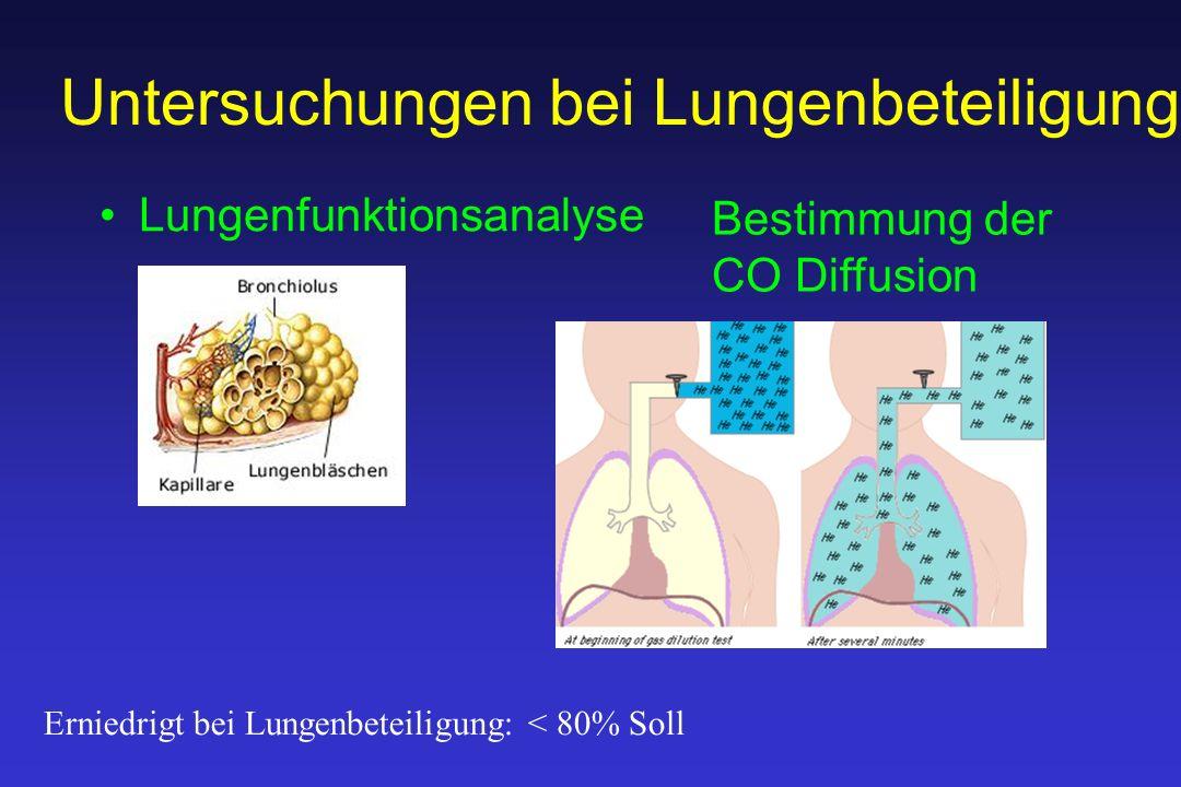 Untersuchungen bei Lungenbeteiligung Lungenfunktionsanalyse Bestimmung der CO Diffusion Erniedrigt bei Lungenbeteiligung: < 80% Soll