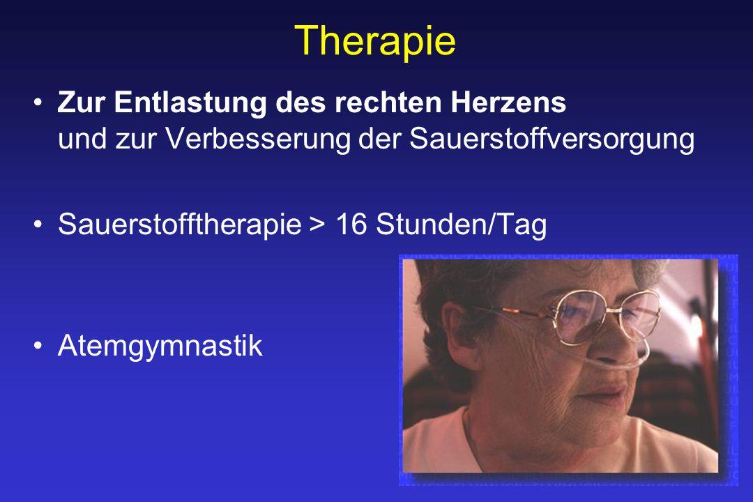 Therapie Zur Entlastung des rechten Herzens und zur Verbesserung der Sauerstoffversorgung Sauerstofftherapie > 16 Stunden/Tag Atemgymnastik