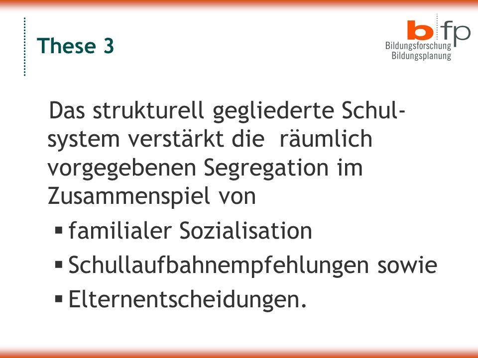 These 3 Das strukturell gegliederte Schul- system verstärkt die räumlich vorgegebenen Segregation im Zusammenspiel von  familialer Sozialisation  Schullaufbahnempfehlungen sowie  Elternentscheidungen.