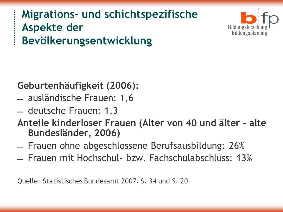 Migrations- und schichtspezifische Aspekte der Bevölkerungsentwicklung Geburtenhäufigkeit (2006):  ausländische Frauen: 1,6  deutsche Frauen: 1,3 Anteile kinderloser Frauen (Alter von 40 und älter – alte Bundesländer, 2006)  Frauen ohne abgeschlossene Berufsausbildung: 26%  Frauen mit Hochschul- bzw.