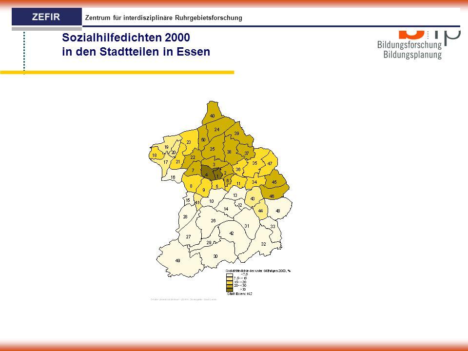Zentrum für interdisziplinäre Ruhrgebietsforschung Sozialhilfedichten 2000 in den Stadtteilen in Essen