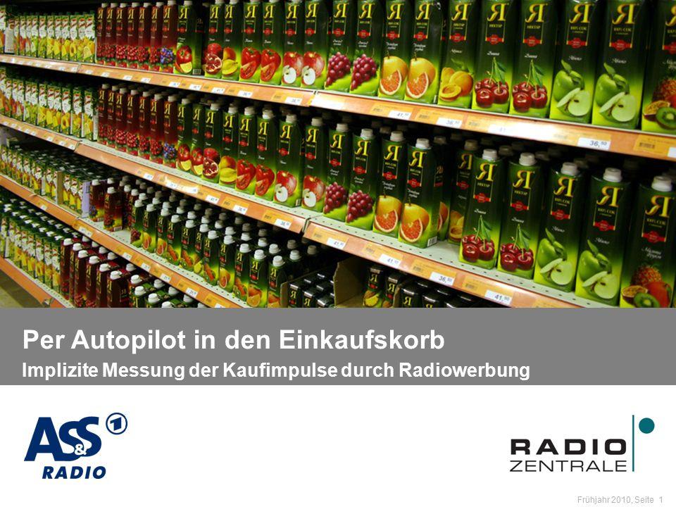 Name der Präsentation / Kapitel Frühjahr 2010, Seite 1 Per Autopilot in den Einkaufskorb Per Autopilot in den Einkaufskorb Implizite Messung der Kaufimpulse durch Radiowerbung
