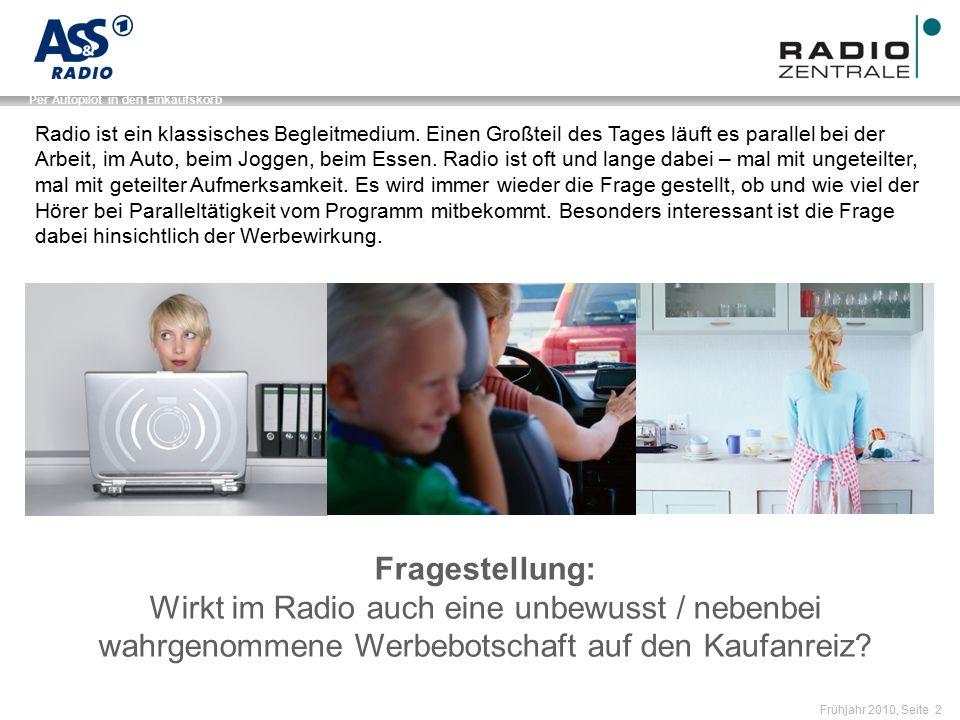 Name der Präsentation / Kapitel Frühjahr 2010, Seite 2 Per Autopilot in den Einkaufskorb Fragestellung: Wirkt im Radio auch eine unbewusst / nebenbei wahrgenommene Werbebotschaft auf den Kaufanreiz.