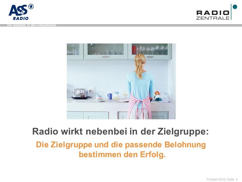 Name der Präsentation / Kapitel Frühjahr 2010, Seite 8 Per Autopilot in den Einkaufskorb Radio wirkt nebenbei in der Zielgruppe: Die Zielgruppe und die passende Belohnung bestimmen den Erfolg.