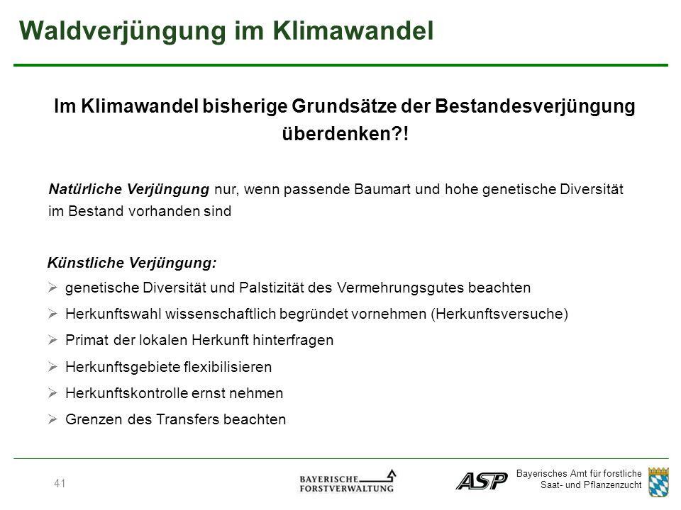 Bayerisches Amt für forstliche Saat- und Pflanzenzucht Waldverjüngung im Klimawandel Im Klimawandel bisherige Grundsätze der Bestandesverjüngung überdenken .
