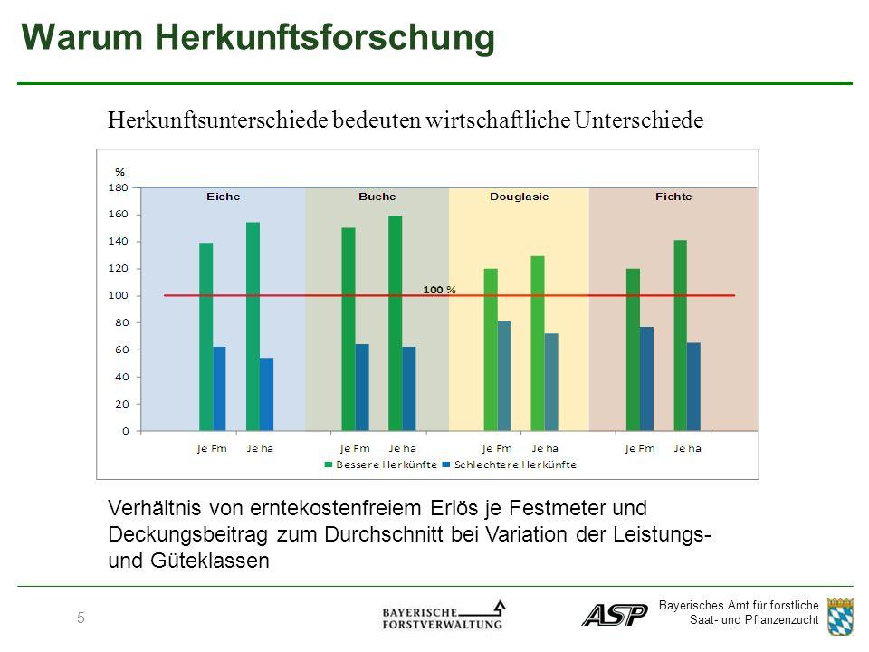 Bayerisches Amt für forstliche Saat- und Pflanzenzucht Warum Herkunftsforschung Verhältnis von erntekostenfreiem Erlös je Festmeter und Deckungsbeitrag zum Durchschnitt bei Variation der Leistungs- und Güteklassen Herkunftsunterschiede bedeuten wirtschaftliche Unterschiede 5