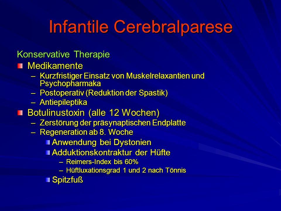 Konservative Therapie Medikamente –Kurzfristiger Einsatz von Muskelrelaxantien und Psychopharmaka –Postoperativ (Reduktion der Spastik) –Antiepileptik
