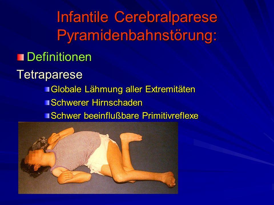 Infantile Cerebralparese Pyramidenbahnstörung: DefinitionenTetraparese Globale Lähmung aller Extremitäten Schwerer Hirnschaden Schwer beeinflußbare Pr