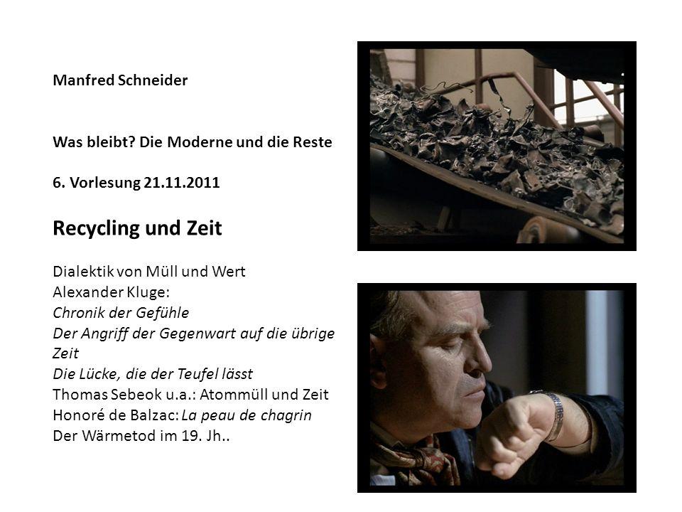 Manfred Schneider Was bleibt? Die Moderne und die Reste 6. Vorlesung 21.11.2011 Recycling und Zeit Dialektik von Müll und Wert Alexander Kluge: Chroni
