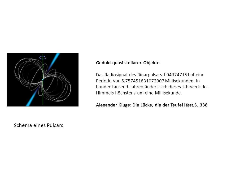 Geduld quasi-stellarer Objekte Das Radiosignal des Binarpulsars J 04374715 hat eine Periode von 5,757451831072007 Millisekunden.