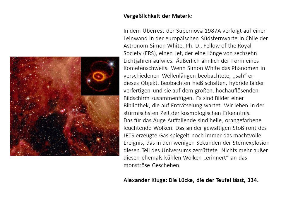 Vergeßlichkeit der Materie In dem Überrest der Supernova 1987A verfolgt auf einer Leinwand in der europäischen Südsternwarte in Chile der Astronom Sim