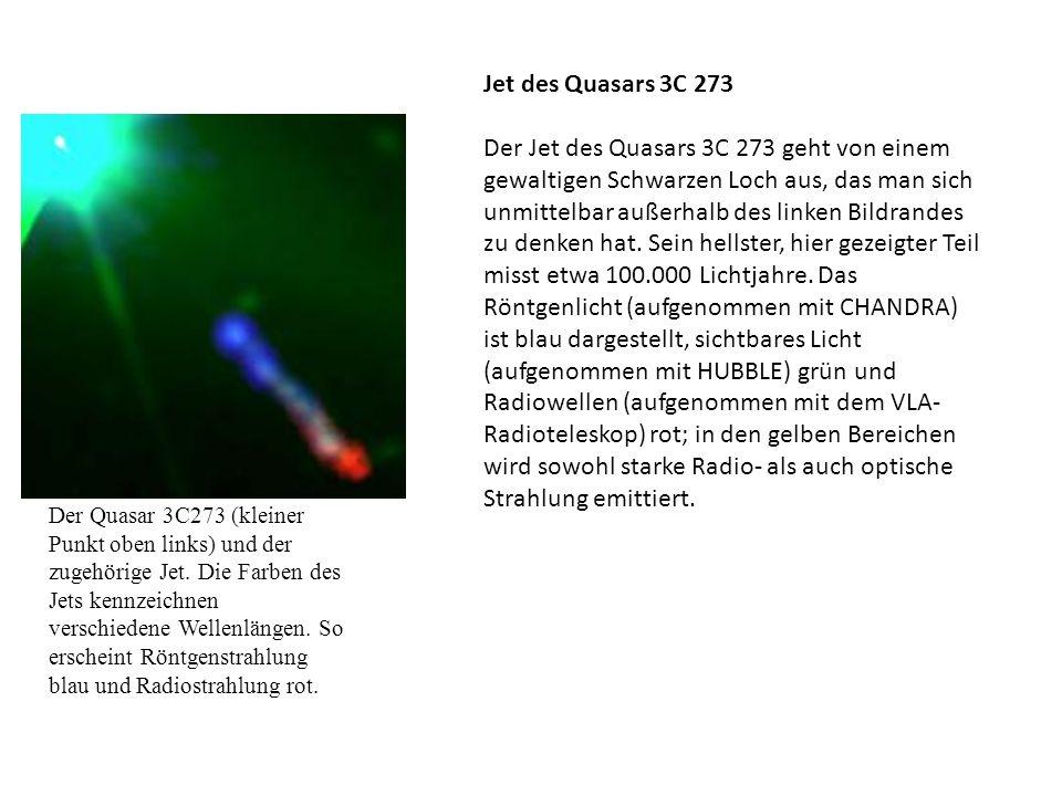 Der Quasar 3C273 (kleiner Punkt oben links) und der zugehörige Jet. Die Farben des Jets kennzeichnen verschiedene Wellenlängen. So erscheint Röntgenst