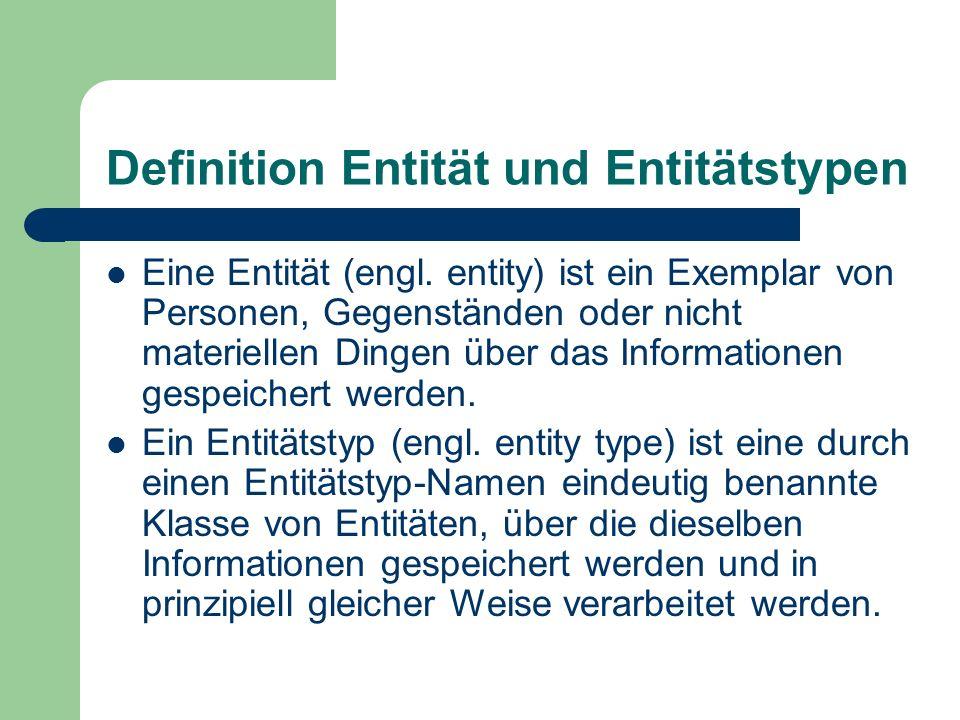 Definition Entität und Entitätstypen Eine Entität (engl. entity) ist ein Exemplar von Personen, Gegenständen oder nicht materiellen Dingen über das In