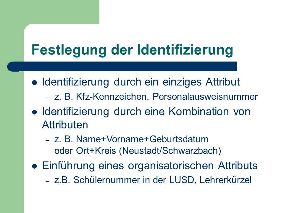 Festlegung der Identifizierung Identifizierung durch ein einziges Attribut – z. B. Kfz-Kennzeichen, Personalausweisnummer Identifizierung durch eine K