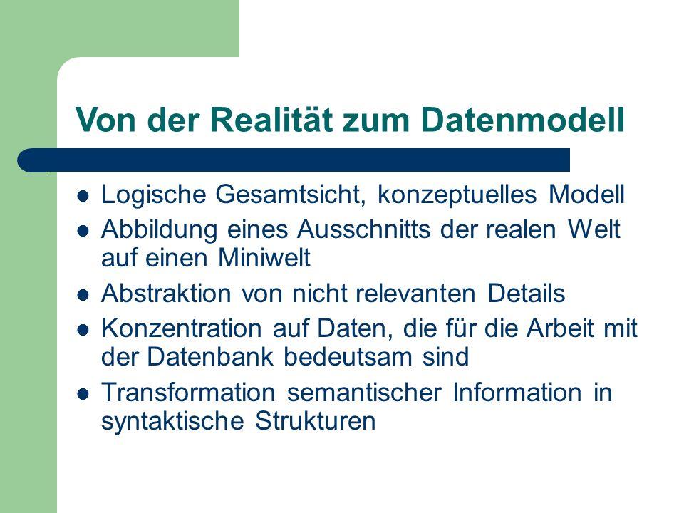 Von der Realität zum Datenmodell Logische Gesamtsicht, konzeptuelles Modell Abbildung eines Ausschnitts der realen Welt auf einen Miniwelt Abstraktion