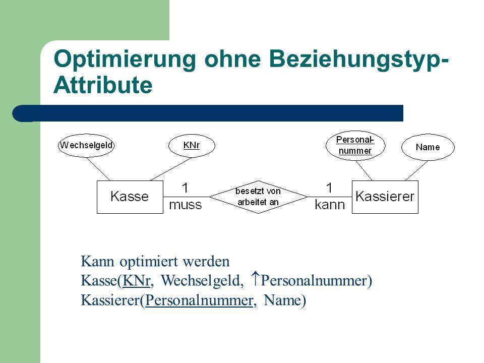 Optimierung ohne Beziehungstyp- Attribute Kann optimiert werden Kasse(KNr, Wechselgeld,  Personalnummer) Kassierer(Personalnummer, Name)
