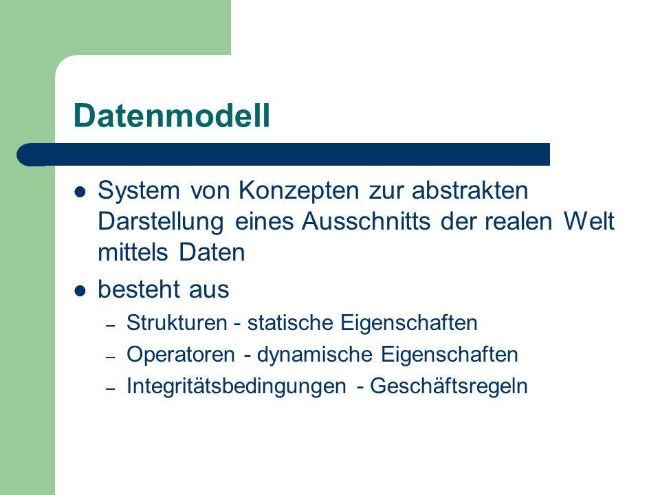 Datenmodell System von Konzepten zur abstrakten Darstellung eines Ausschnitts der realen Welt mittels Daten besteht aus – Strukturen - statische Eigen