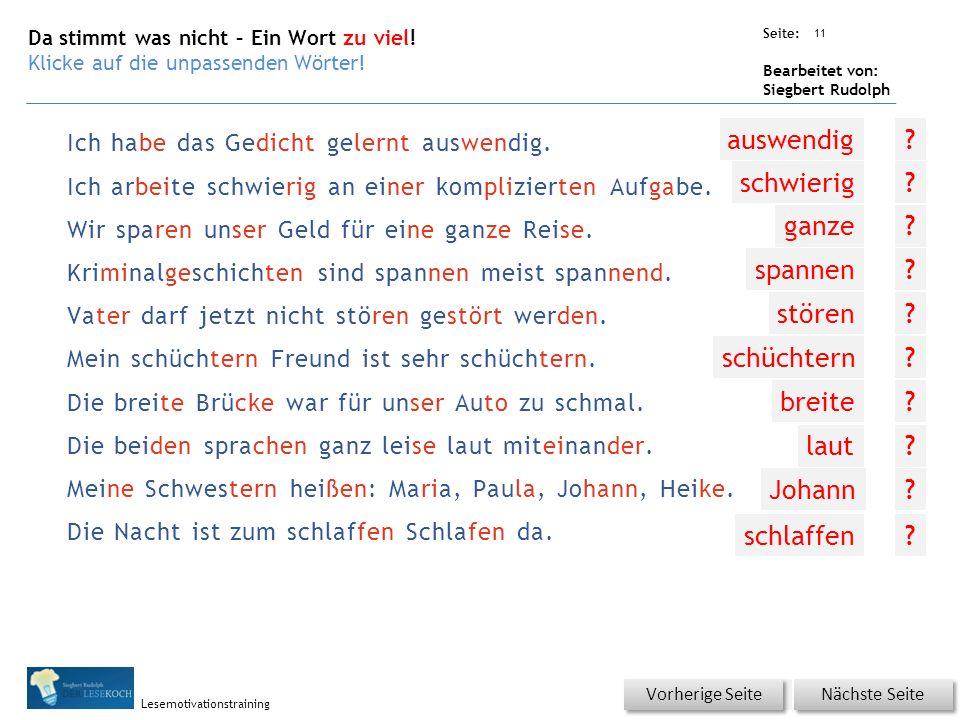 Übungsart: Seite: Bearbeitet von: Siegbert Rudolph Lesemotivationstraining Ich habe das Gedicht gelernt auswendig.
