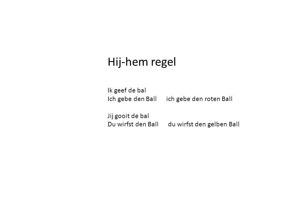 Hij-hem regel Ik geef de bal Ich gebe den Ball ich gebe den roten Ball Jij gooit de bal Du wirfst den Ball du wirfst den gelben Ball