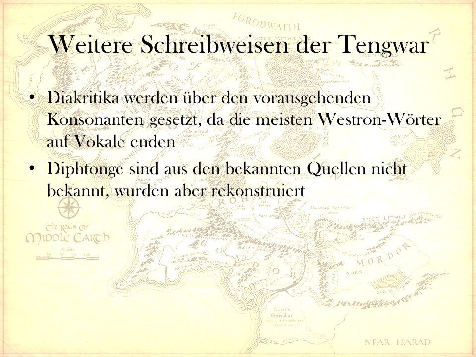 Diakritika werden über den vorausgehenden Konsonanten gesetzt, da die meisten Westron-Wörter auf Vokale enden Diphtonge sind aus den bekannten Quellen nicht bekannt, wurden aber rekonstruiert