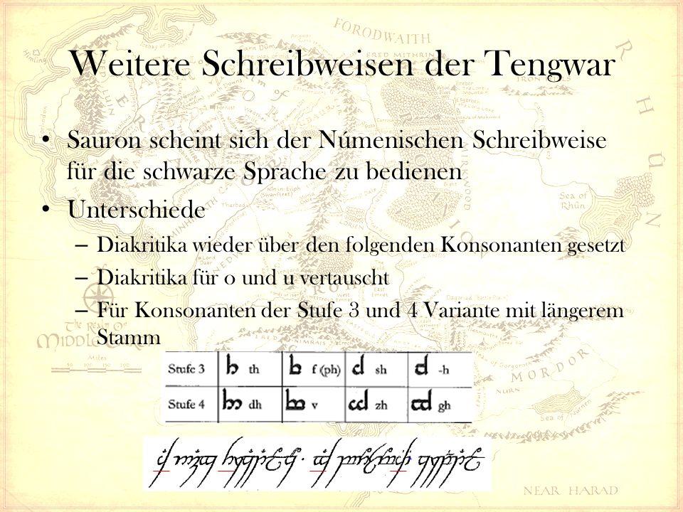 Weitere Schreibweisen der Tengwar Sauron scheint sich der Númenischen Schreibweise für die schwarze Sprache zu bedienen Unterschiede – Diakritika wieder über den folgenden Konsonanten gesetzt – Diakritika für o und u vertauscht – Für Konsonanten der Stufe 3 und 4 Variante mit längerem Stamm
