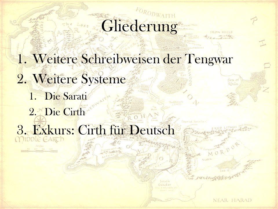 """Weitere Systeme – Die Cirth Cirth -> Sindarin """"Runen Ganz allgemein: Runen sind ein halbwegs unabhängig entwickeltes Alphabet verschiedener germanischer Völker Verschiedene Runenschreibweisen, allerdings sehr ähnlich in den Lautwerten der Zeichen Tolkien entwickelt ein eigenes System Es ähnelt nur im Aussehen den germanischen Vorbildern"""