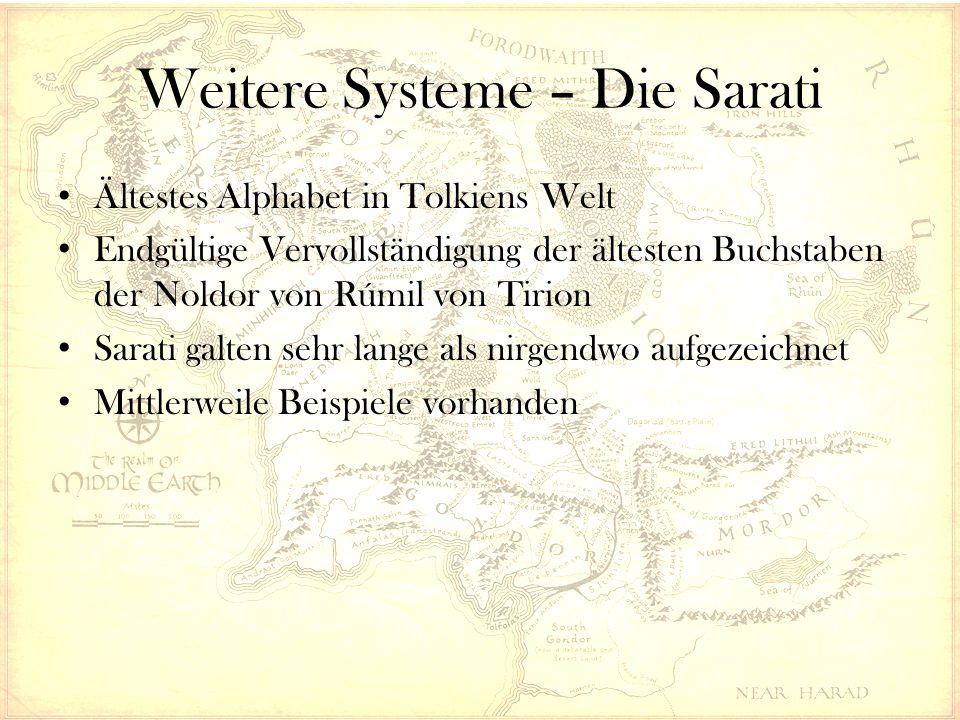 Weitere Systeme – Die Sarati Ältestes Alphabet in Tolkiens Welt Endgültige Vervollständigung der ältesten Buchstaben der Noldor von Rúmil von Tirion Sarati galten sehr lange als nirgendwo aufgezeichnet Mittlerweile Beispiele vorhanden