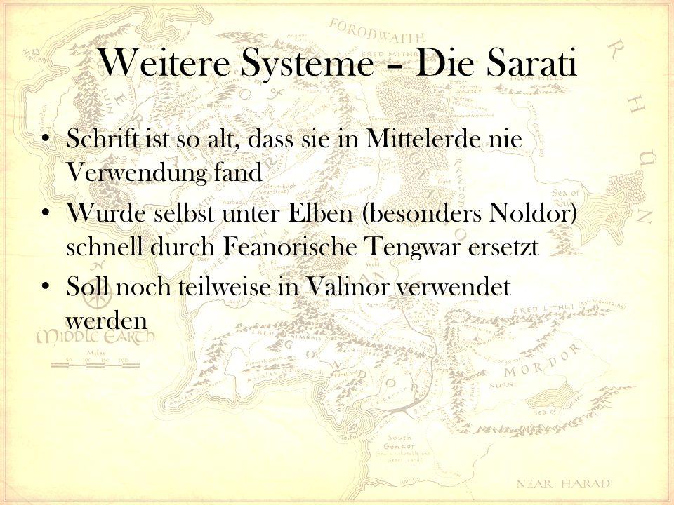 Weitere Systeme – Die Sarati Schrift ist so alt, dass sie in Mittelerde nie Verwendung fand Wurde selbst unter Elben (besonders Noldor) schnell durch Feanorische Tengwar ersetzt Soll noch teilweise in Valinor verwendet werden