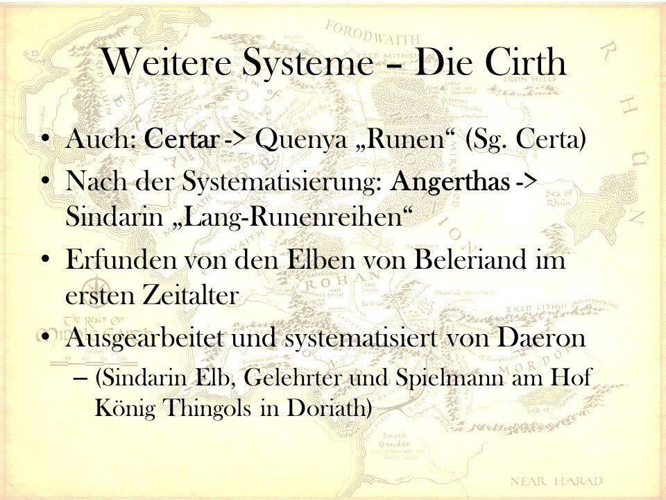 """Weitere Systeme – Die Cirth Auch: Certar -> Quenya """"Runen (Sg."""