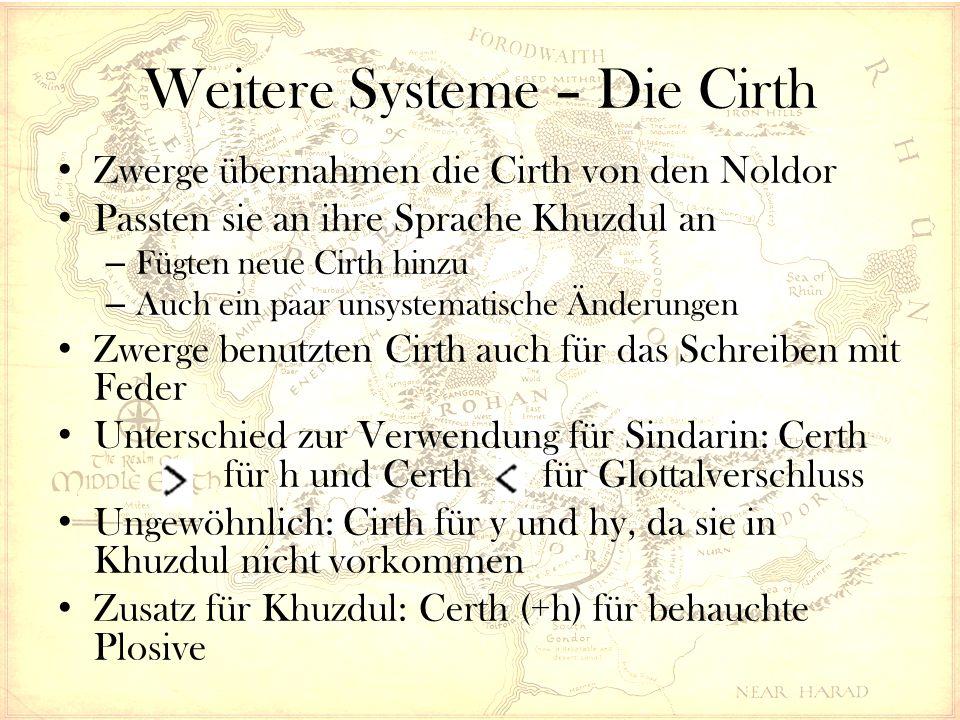 Weitere Systeme – Die Cirth Zwerge übernahmen die Cirth von den Noldor Passten sie an ihre Sprache Khuzdul an – Fügten neue Cirth hinzu – Auch ein paar unsystematische Änderungen Zwerge benutzten Cirth auch für das Schreiben mit Feder Unterschied zur Verwendung für Sindarin: Certh für h und Certh für Glottalverschluss Ungewöhnlich: Cirth für y und hy, da sie in Khuzdul nicht vorkommen Zusatz für Khuzdul: Certh (+h) für behauchte Plosive