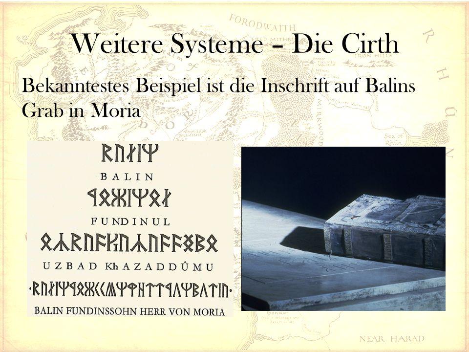Weitere Systeme – Die Cirth Bekanntestes Beispiel ist die Inschrift auf Balins Grab in Moria