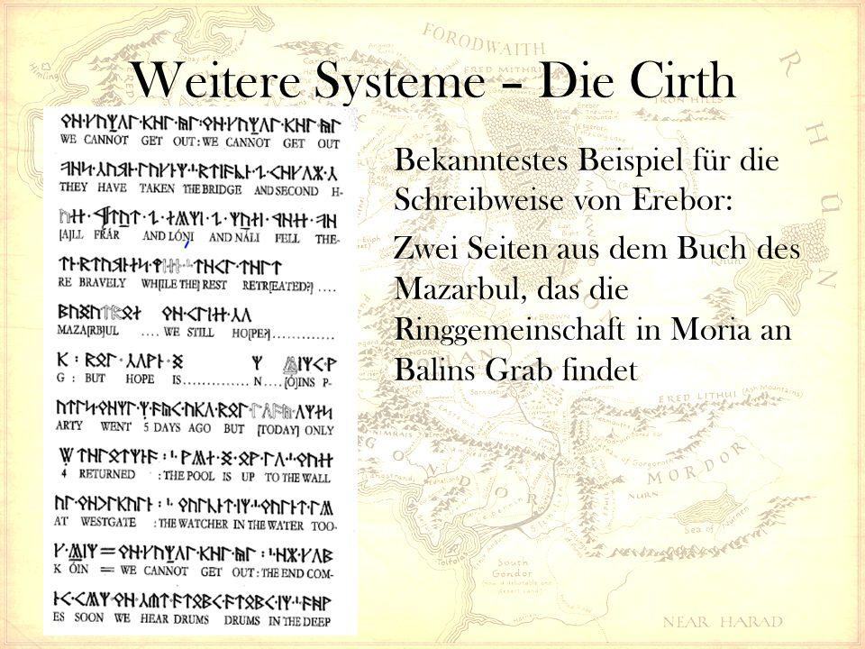 Weitere Systeme – Die Cirth Bekanntestes Beispiel für die Schreibweise von Erebor: Zwei Seiten aus dem Buch des Mazarbul, das die Ringgemeinschaft in Moria an Balins Grab findet
