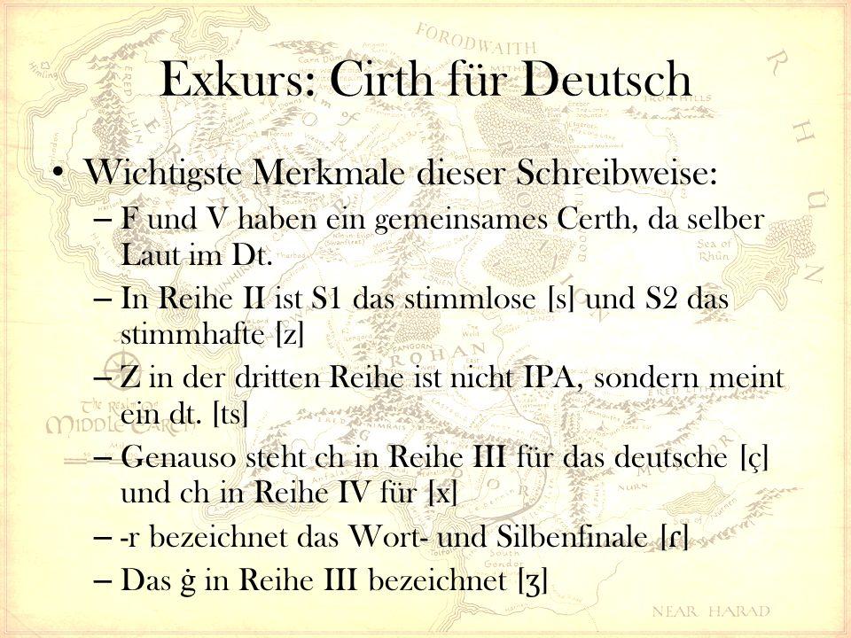 Wichtigste Merkmale dieser Schreibweise: – F und V haben ein gemeinsames Certh, da selber Laut im Dt.