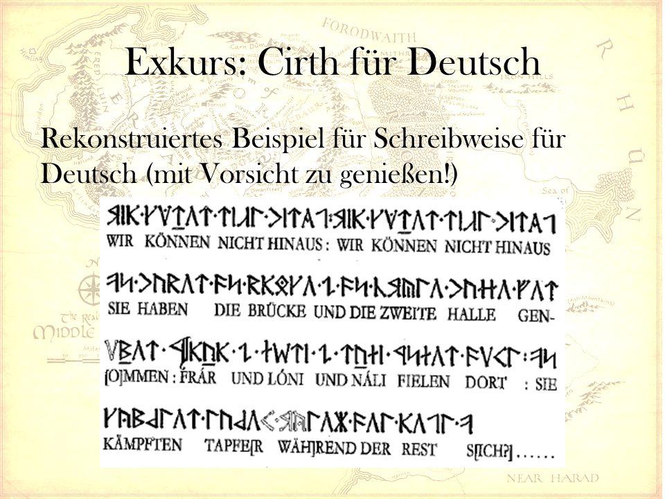 Exkurs: Cirth für Deutsch Rekonstruiertes Beispiel für Schreibweise für Deutsch (mit Vorsicht zu genießen!)