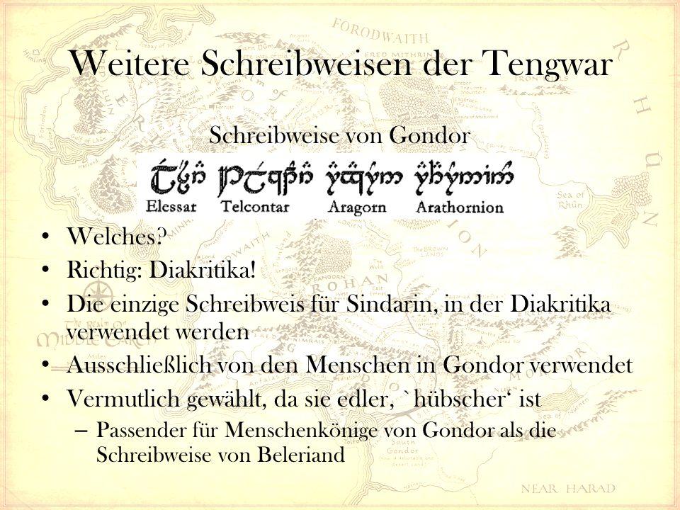 Weitere Systeme – Die Cirth Ursprüngliche Form der Cirth ungeordnet, ohne System und mit Elementen der Tengwar Gedacht für Inschriften in Holz und Stein Daeron ordnete sie und fasste die vielen Runen in Reihen zusammen (die sog.