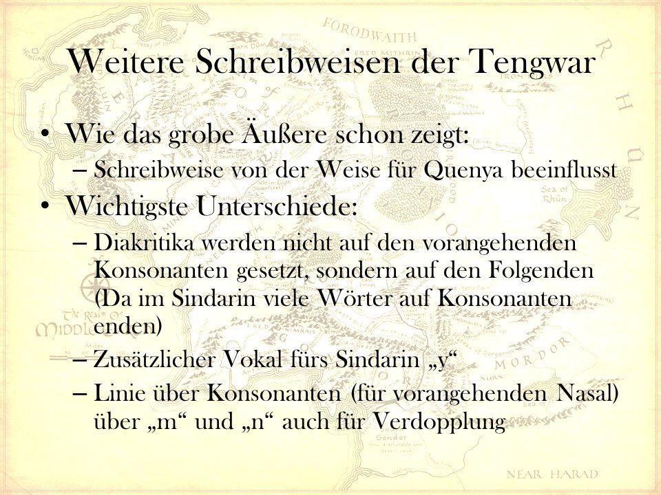 Weitere Systeme – Die Cirth Kein überliefertes Beispiel für diese Schreibweise Einzige Ausnahme: Rune G für Gandalf