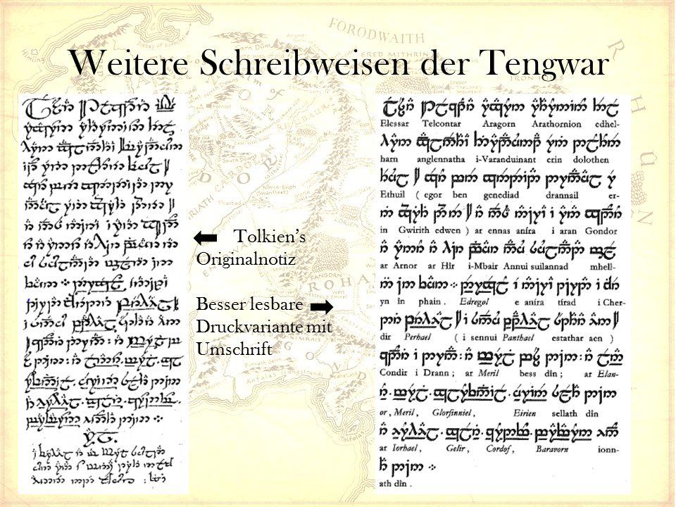Weitere Systeme – Die Cirth Die Eregion-Schreibweise hat eine große Vielfalt an Zeichen Konnte daher nicht nur für Elbensprachen verwendet werden Auch andere Sprachen bedienen sich der Runen – Westron – Rohirrisch (in vereinfachter Form) – Zwergensprachen Zwerge übernahmen das System später fast komplett – Im dritten Zeitalter fast ausschließlich als Zwergenschrift bekannt Für Elbische Sprachen wurde es vollständig durch Feanors Tengwar ersetzt