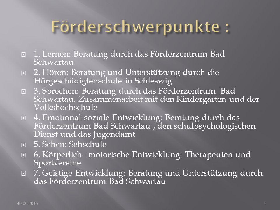 1. Lernen: Beratung durch das Förderzentrum Bad Schwartau  2.