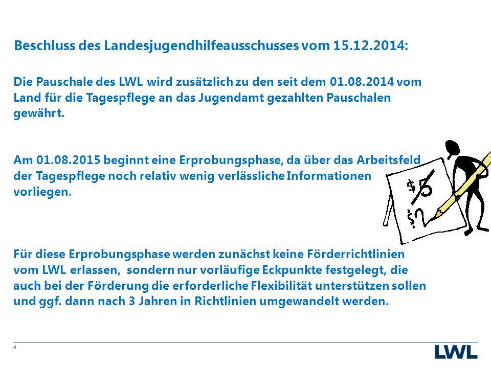 4 Die Pauschale des LWL wird zusätzlich zu den seit dem 01.08.2014 vom Land für die Tagespflege an das Jugendamt gezahlten Pauschalen gewährt.