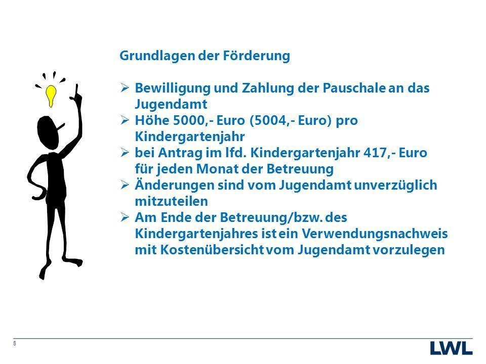 8 Grundlagen der Förderung  Bewilligung und Zahlung der Pauschale an das Jugendamt  Höhe 5000,- Euro (5004,- Euro) pro Kindergartenjahr  bei Antrag im lfd.